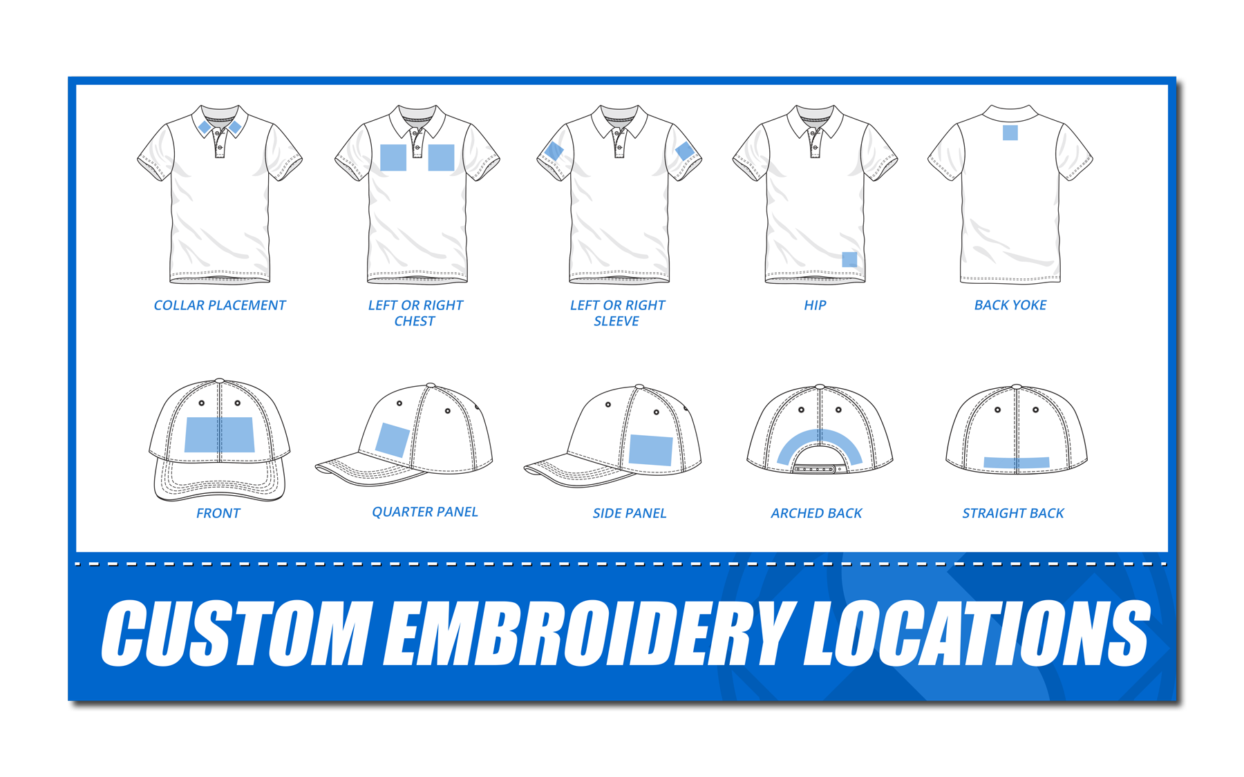 HS - Shirt Sizes - Custom Embroidery Locations
