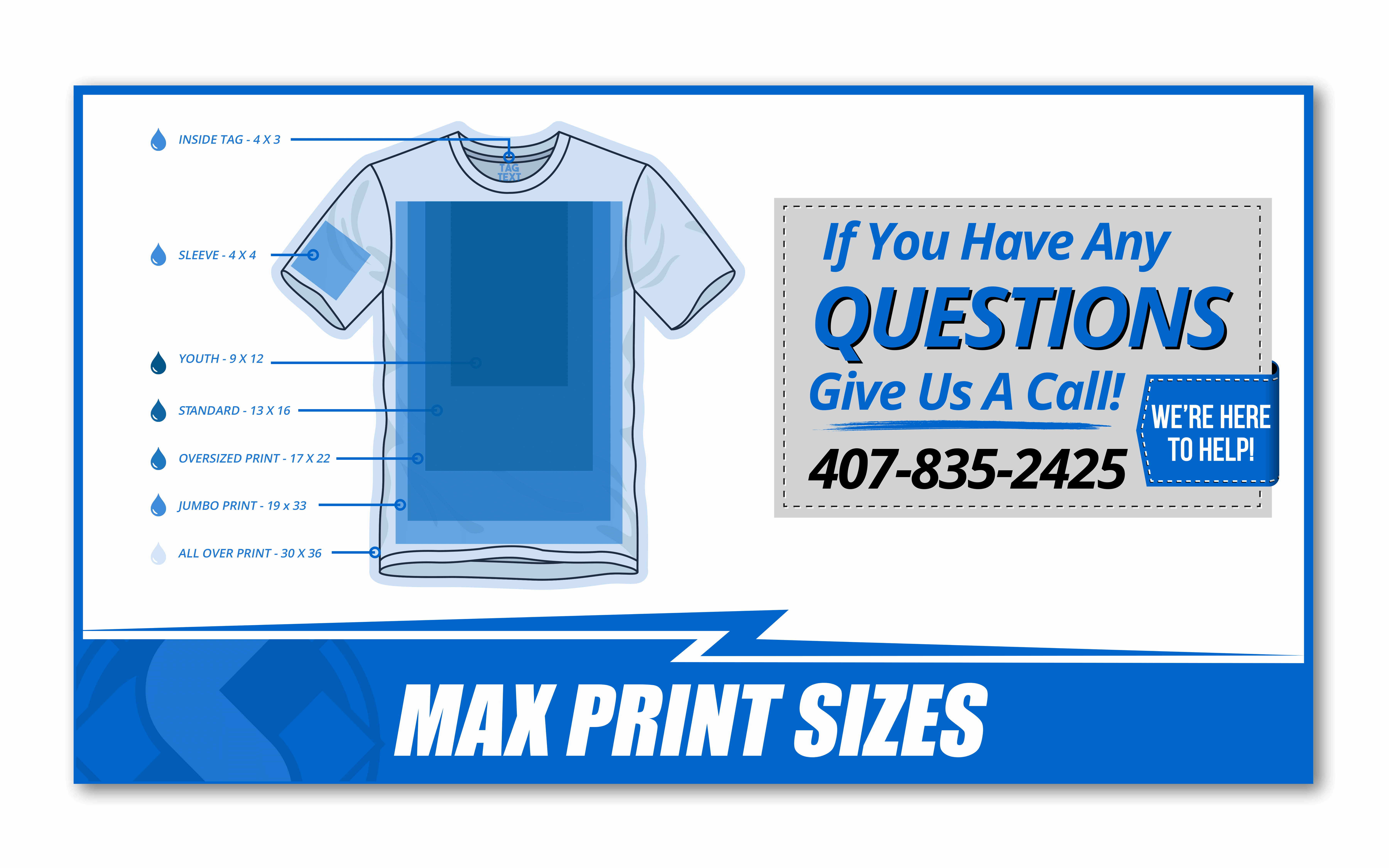 a chart displaying the max print sizes