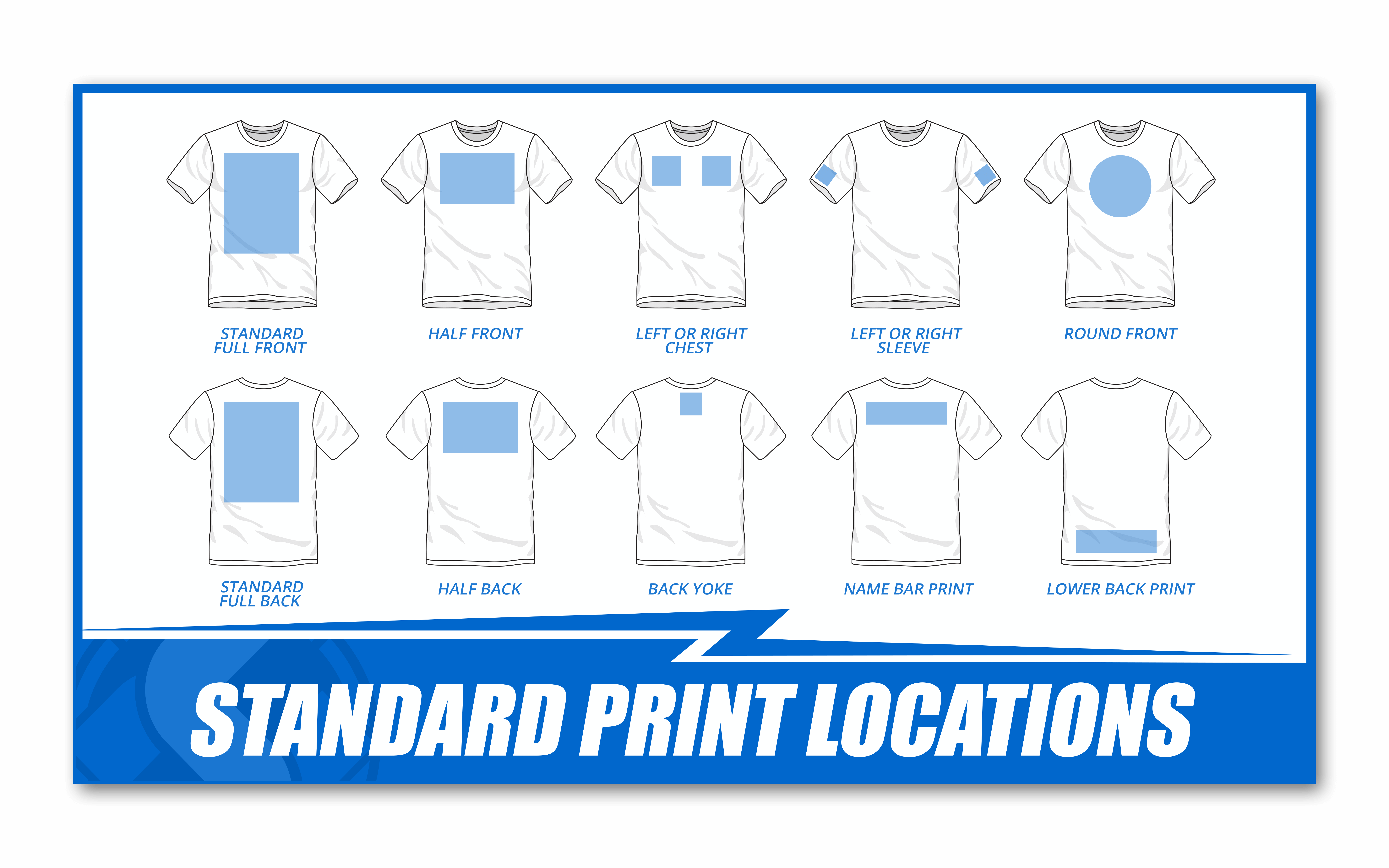 a chart showing standard print locations on a t shirt