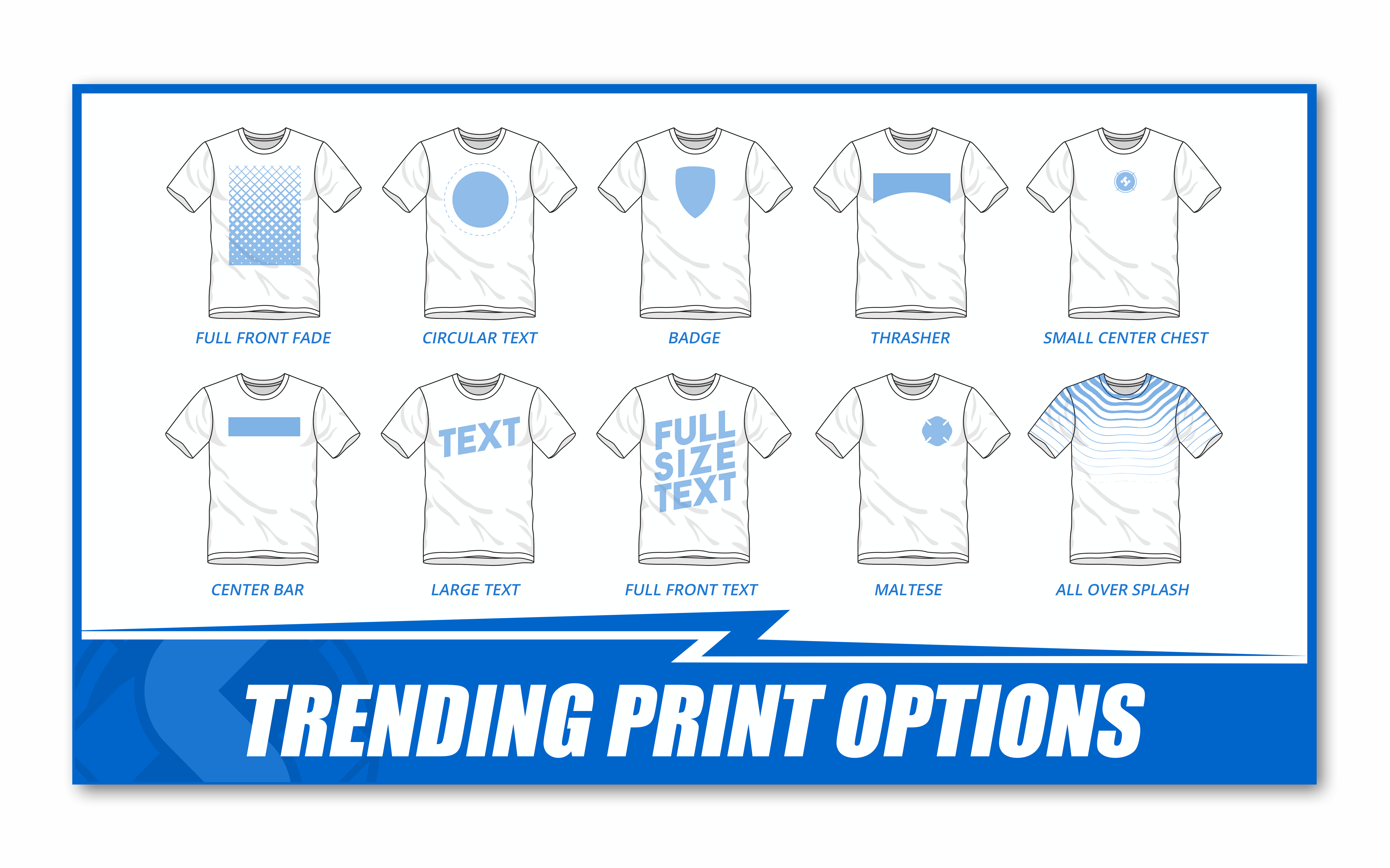 a chart showing current trending print locations on a t shirt