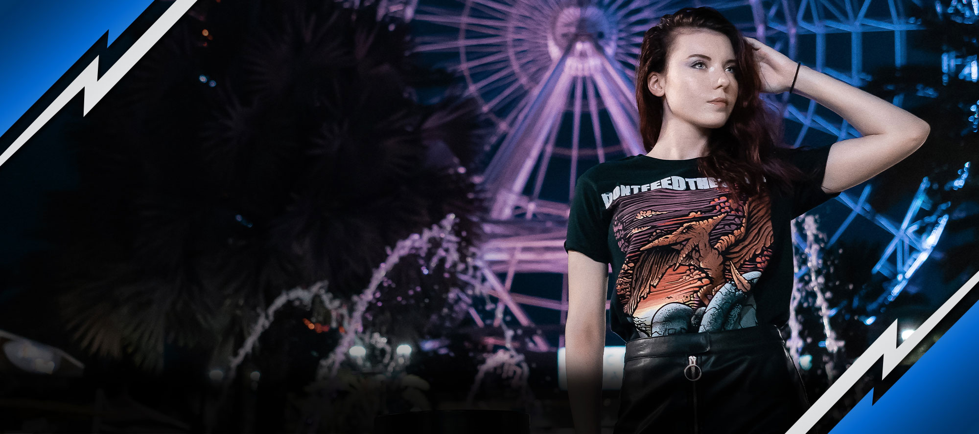 a girl showing off a custom printed t-shirt