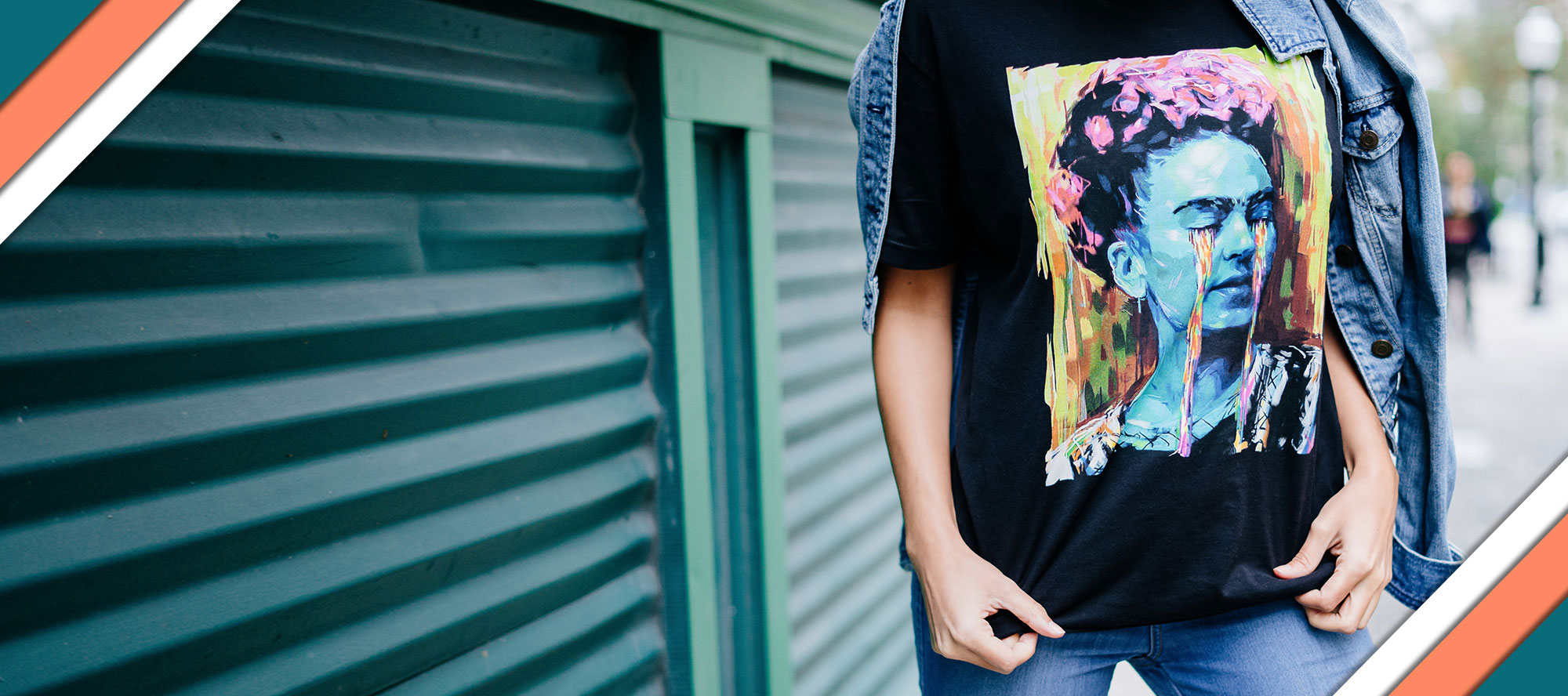 someone showing a shirt with a colorful print